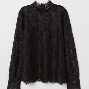 H&M x Klarna Black Long-sleeved Lace Top